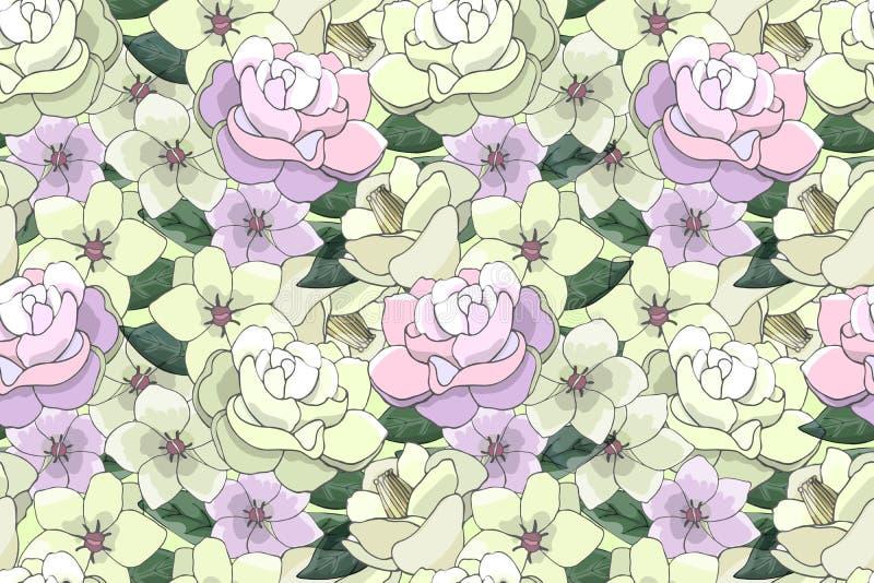 Wektorowy bezszwowy wzór z jasnożółtymi i różowymi kwiatami ilustracja wektor