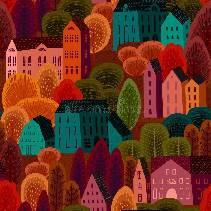 Wektorowy bezszwowy wzór z jesieni miastem Tło dla różnorodnej powierzchni ilustracja wektor