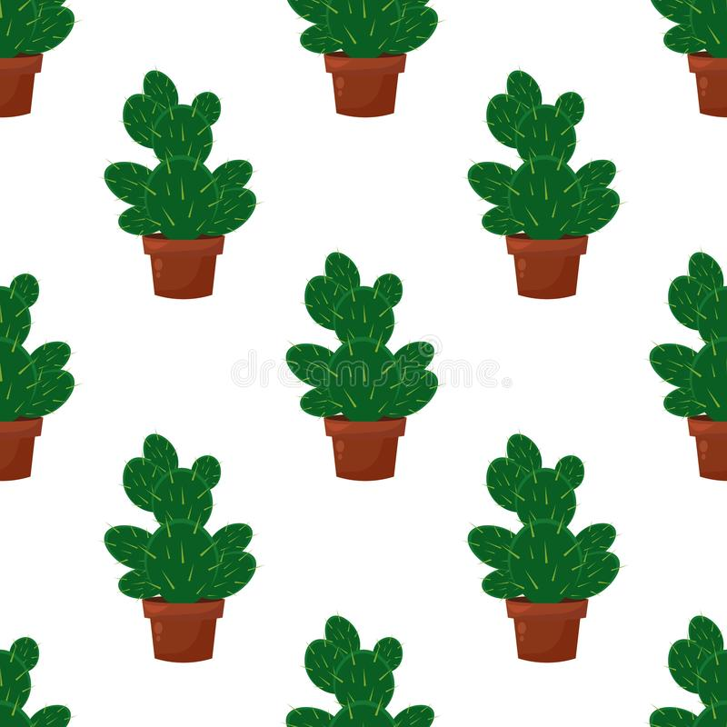 Wektorowy bezszwowy wzór z kaktusowym roślina garnkiem, kwiat Modny tropikalny projekt dla tkaniny, druk, odziewa zdjęcia stock