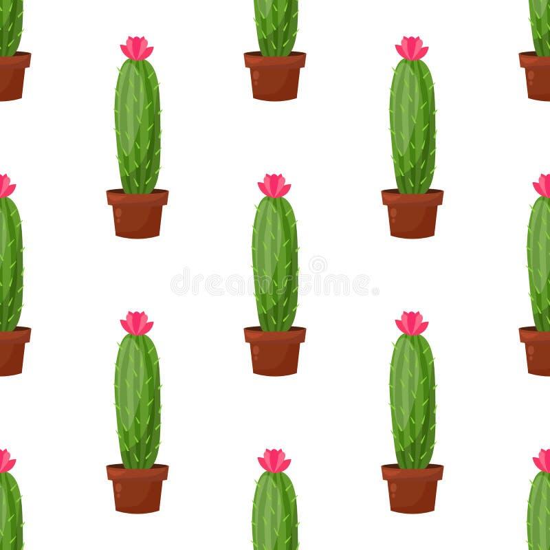 Wektorowy bezszwowy wzór z kaktusowym roślina garnkiem, kwiat Modny tropikalny projekt dla tkaniny, druk, odziewa zdjęcia royalty free
