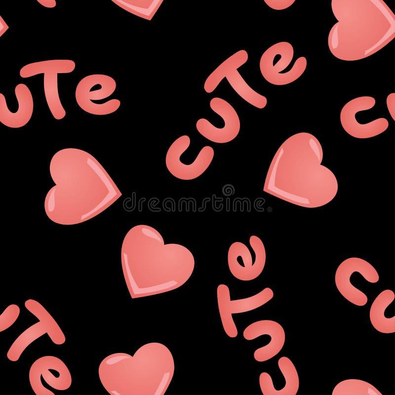 Wektorowy bezszwowy wzór z kawai menchii sercami i wpisowy Śliczny na czarnym tle ilustracja wektor