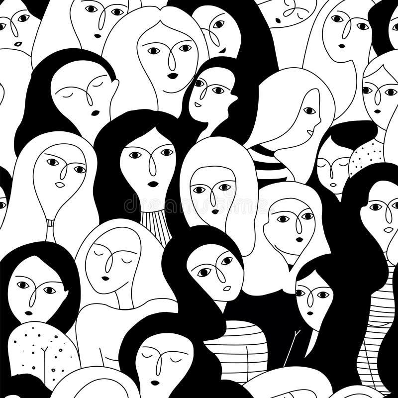 Wektorowy bezszwowy wzór z kobiet twarzami ilustracji