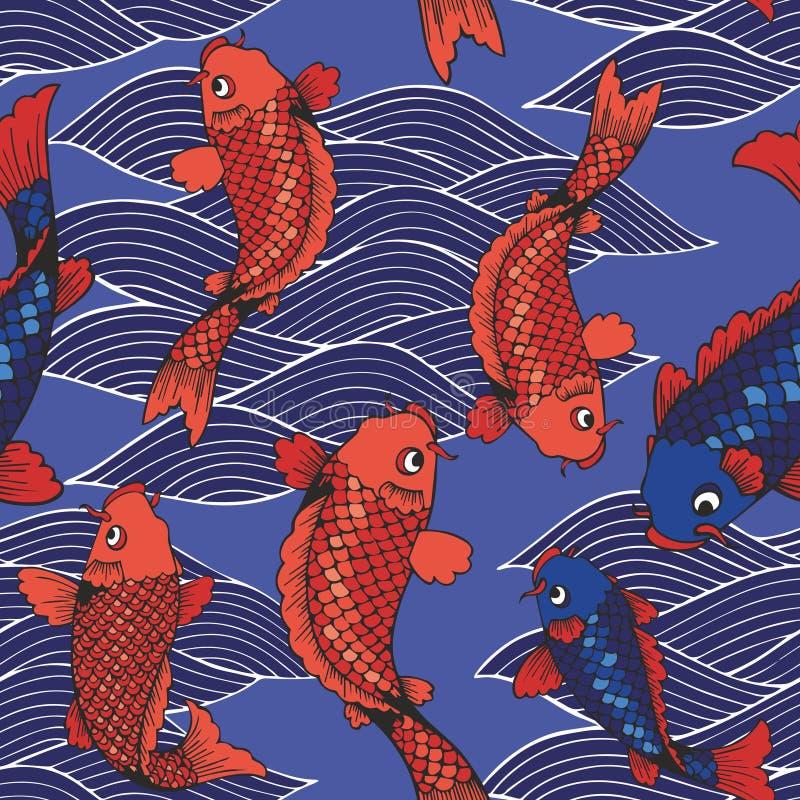 Wektorowy bezszwowy wzór z koj fala i karpiami na błękitnym tle rysunkowy wręcza jej ranek bielizny jej ciepłych kobiety potomstw ilustracja wektor