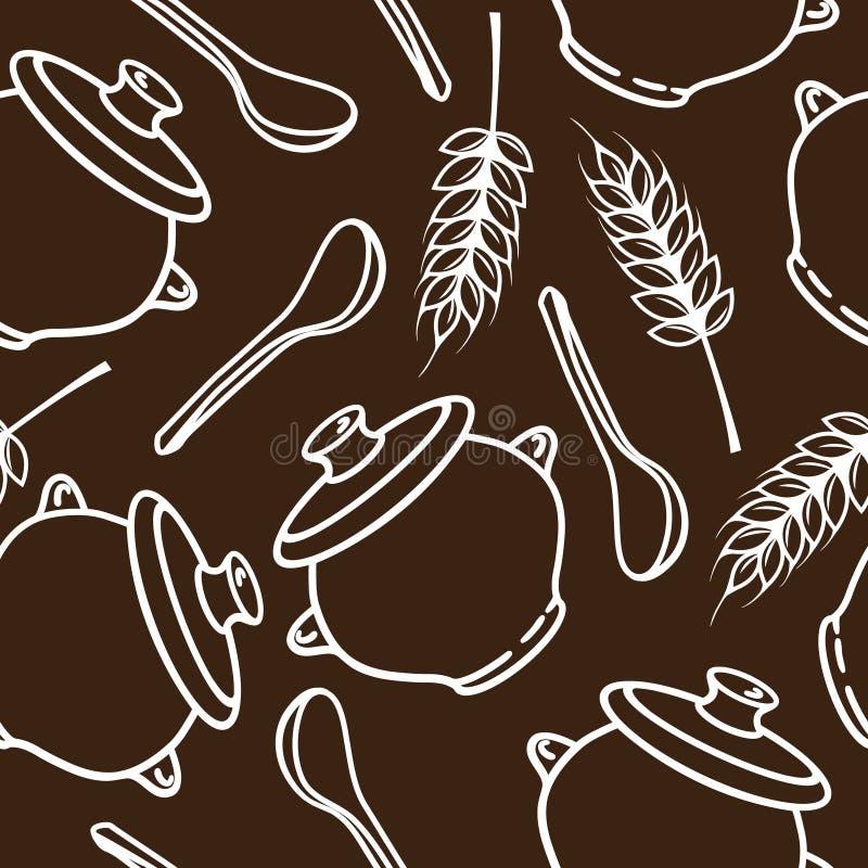 Wektorowy bezszwowy wzór z kolcami, garnkami i łyżkami, royalty ilustracja