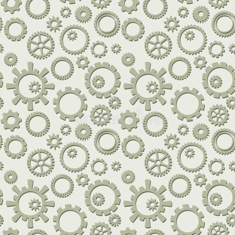 Wektorowy bezszwowy wzór z kolekcją przekładnie - lekki przemysłowy tło ilustracja wektor