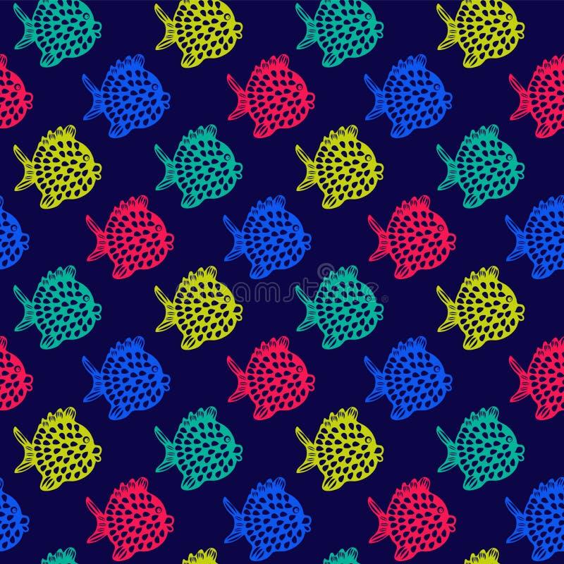 Wektorowy bezszwowy wzór z Kolorowymi Ślicznymi ryba ilustracji