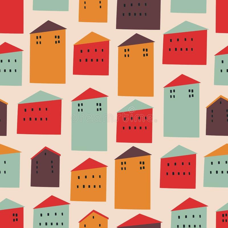 Wektorowy bezszwowy wzór z kolorowymi domami fotografia royalty free