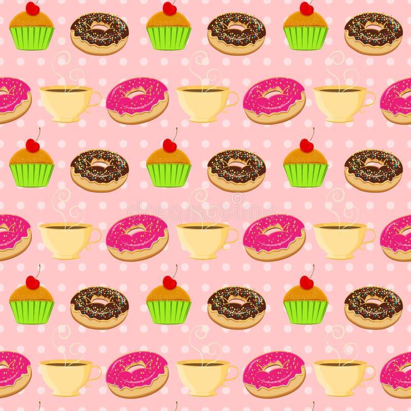 Wektorowy bezszwowy wzór z kolorowymi donuts, muffins i tescup, royalty ilustracja