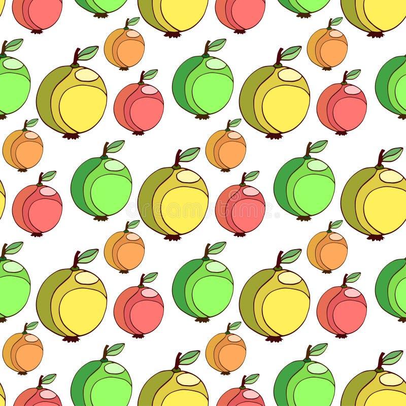 Wektorowy bezszwowy wzór z kolorowymi jabłkami Owoc stylizowany tło Jabłczana tapeta ilustracji