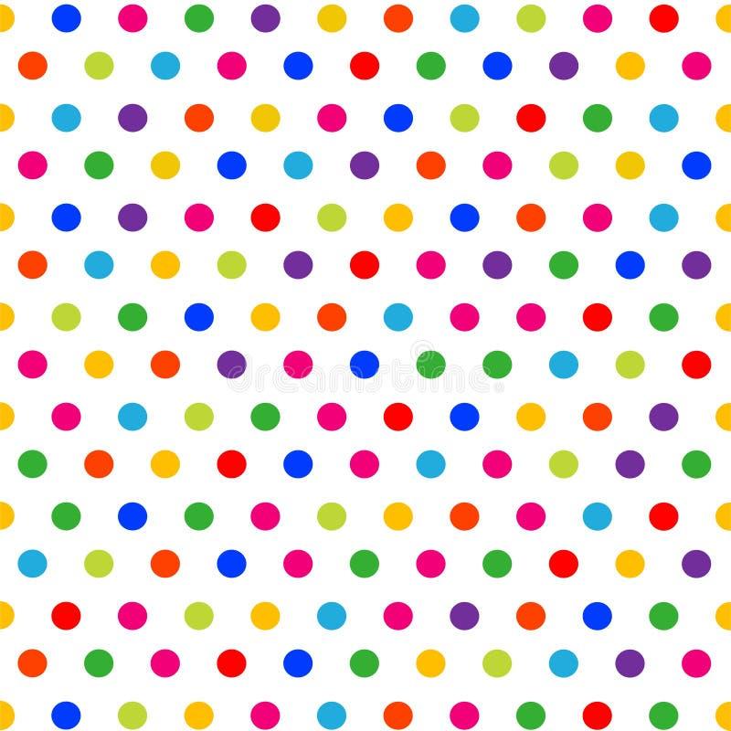 Wektorowy bezszwowy wzór z kolorowymi polek kropkami na białym tle ilustracja wektor