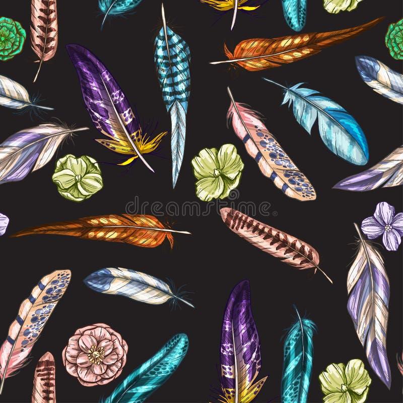 Wektorowy bezszwowy wzór z kolorowymi szczegółowymi ptasimi piórkami na czarnym tle royalty ilustracja