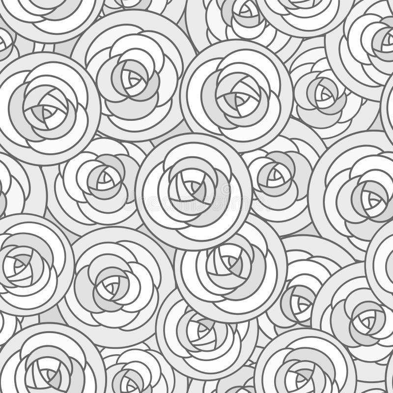 Wektorowy bezszwowy wzór z kontur dekoracyjnymi różami w szarych brzmieniach Piękny kwiecisty tło, eleganccy abstraktów kwiaty royalty ilustracja