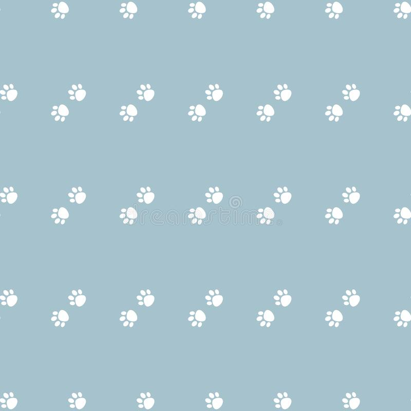 Wektorowy bezszwowy wzór z kot łapy psa łapą białe łapy na błękitnym tle ilustracji