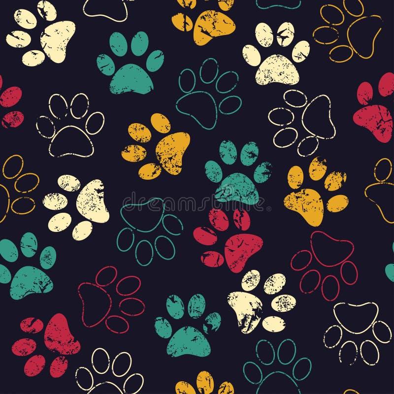 Wektorowy bezszwowy wzór z kota lub psa odciskami stopy Śliczny colorfu royalty ilustracja