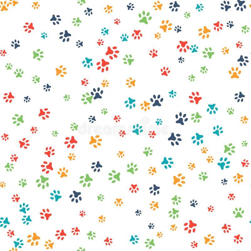 Wektorowy bezszwowy wzór z kota lub psa odciskami stopy ilustracji