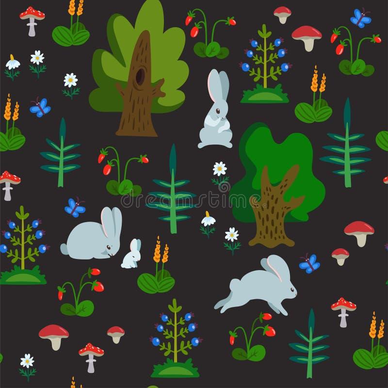Wektorowy bezszwowy wzór z królikami w lasowa ręka rysującej teksturze z ślicznymi postaciami z kreskówki, drzewami i innymi natu ilustracji