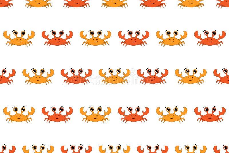 Wektorowy bezszwowy wzór z krabami ilustracyjnymi Biały tło, pomarańcze, czerwień royalty ilustracja