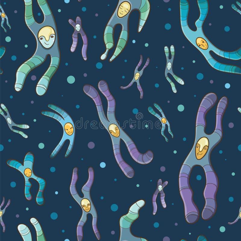 Wektorowy bezszwowy wzór z kreskówka chromosomami ilustracja wektor