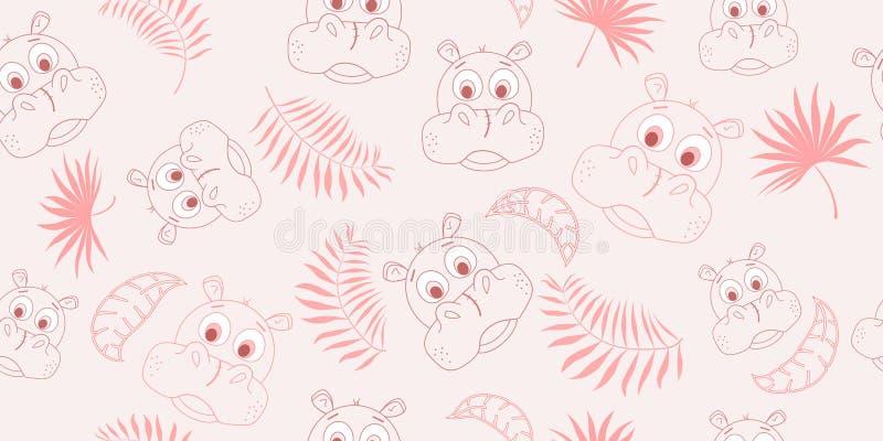 Wektorowy bezszwowy wzór z kreskówka hipopotamem i palma liśćmi również zwrócić corel ilustracji wektora royalty ilustracja