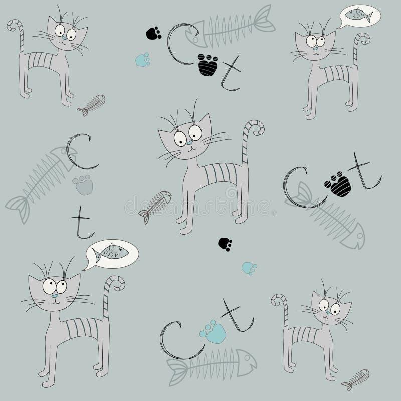 Wektorowy bezszwowy wzór z kreskówka kotem Ilustracja głodny kot Śliczny druk ilustracji