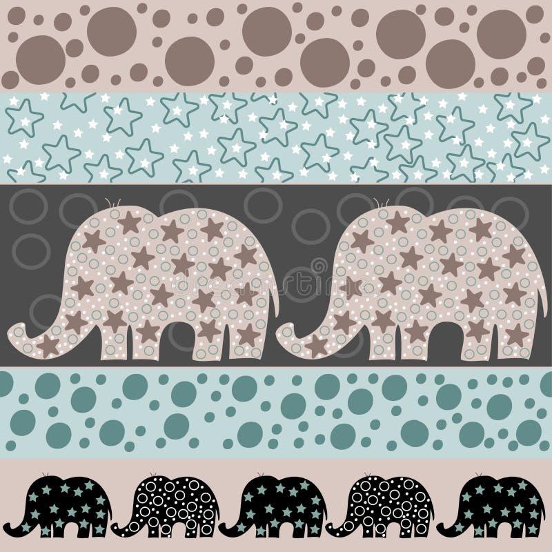 Wektorowy bezszwowy wzór z kreskówka słoniami Wektorowa ilustracja z kreskówka słoniami Szablon dla okładkowej tkaniny, ilustracji