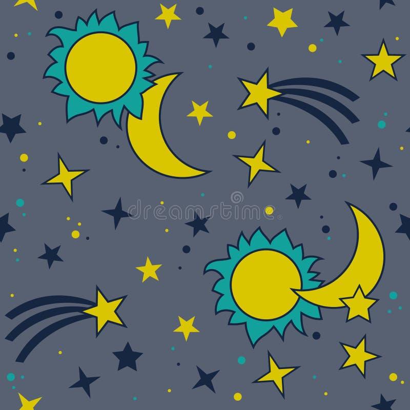 Wektorowy bezszwowy wzór z księżyc, słońcem i gwiazdami, ilustracja wektor