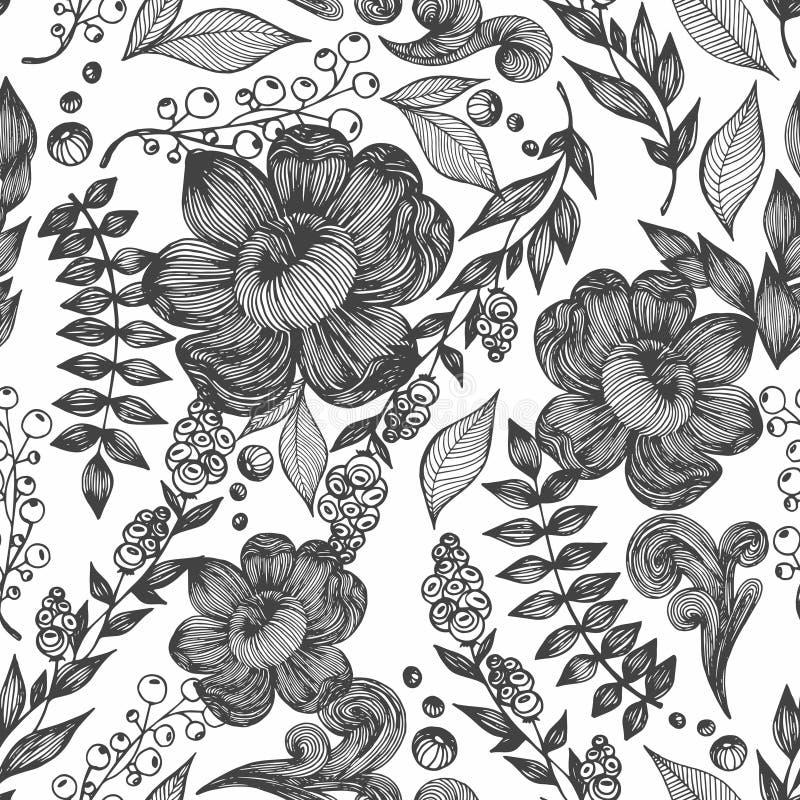 Wektorowy bezszwowy wzór z kwiatami, liśćmi i gałąź, rysunkowy wręcza jej ranek bielizny jej ciepłych kobiety potomstwa ilustracja wektor