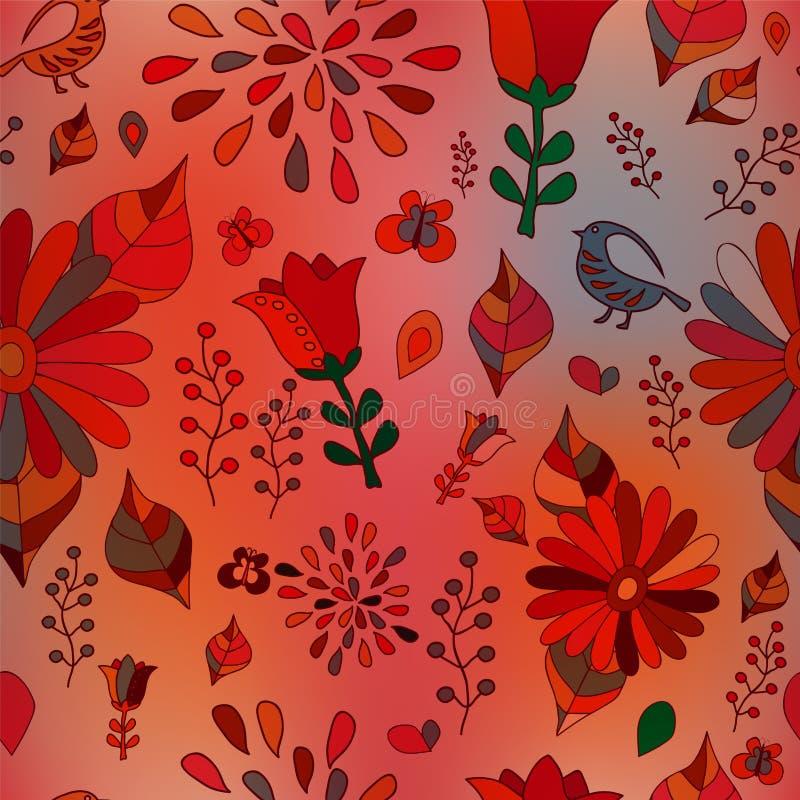 Download Wektorowy Bezszwowy Wzór Z Kwiatem, Ptakiem I Motylem, Kreskówka Ilustracji - Ilustracja złożonej z ornament, kultura: 53790858