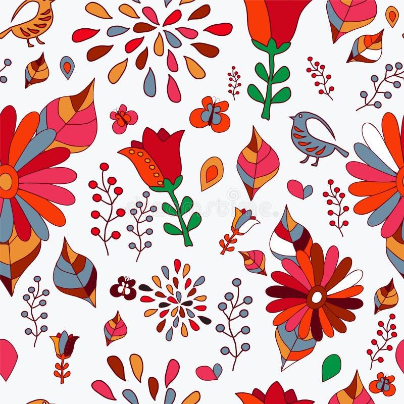 Download Wektorowy Bezszwowy Wzór Z Kwiatem, Ptakiem I Motylem, Kreskówka Ilustracji - Ilustracja złożonej z tło, bezszwowy: 53791030
