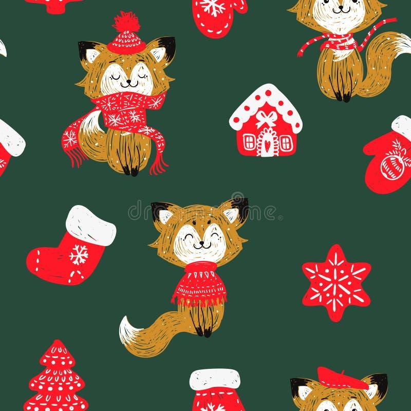 Wektorowy bezszwowy wzór z lasem, rękawiczkami, skarpetami, domami i płatkami śniegu ręki rysującymi doodle choinek, ilustracja wektor