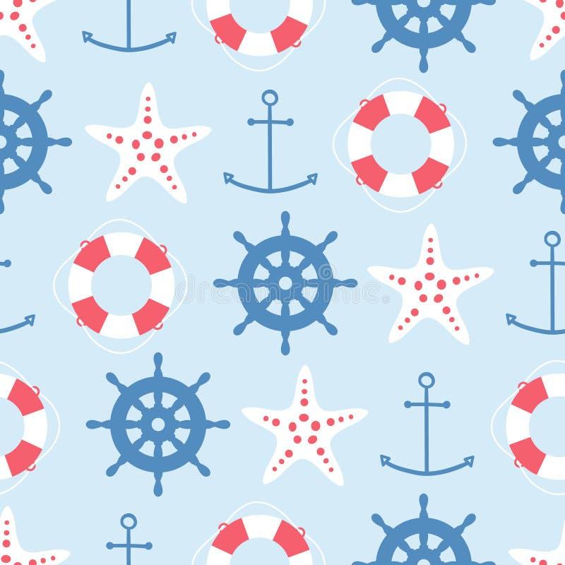 wektorowy bezszwowy wzór z lifebuoy, kotwicowy, rozgwiazda, ster ilustracja wektor