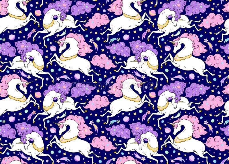 Wektorowy bezszwowy wzór z mitycznymi zwierzętami Galopujące śliczne białe jednorożec z złotym rogiem, menchie, fiołkowa grzywa,  royalty ilustracja