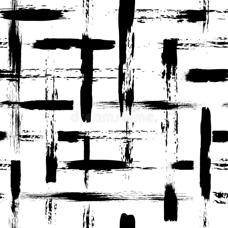 Wektorowy bezszwowy wzór z muśnięć uderzeniami i krzyżem Czarny kolor na białym tle Ręka malująca folwarczek tekstura royalty ilustracja