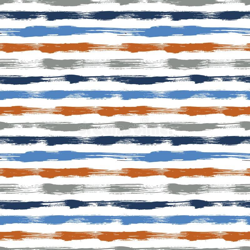 Wektorowy bezszwowy wzór z muśnięciem paskuje i uderzenia Błękitny pomarańczowy kolor na białym tle Ręka malujący folwarczek ilustracji