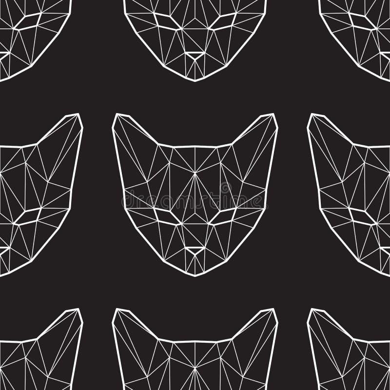 Wektorowy bezszwowy wzór z niskimi poli- kotami zdjęcie royalty free