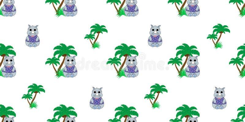 Wektorowy bezszwowy wzór z nosorożec i drzewkami palmowymi Ilustracja kreskówki nosorożec Śliczny druk royalty ilustracja