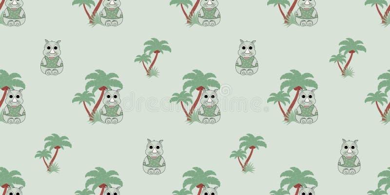 Wektorowy bezszwowy wzór z nosorożec i drzewkami palmowymi Ilustracja kreskówki nosorożec Śliczny druk ilustracja wektor