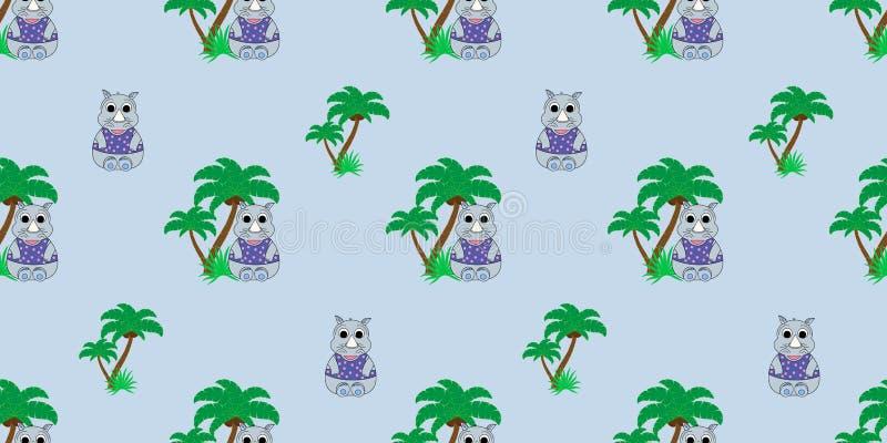 Wektorowy bezszwowy wzór z nosorożec i drzewkami palmowymi Ilustracja kreskówki nosorożec Kreskówka druk ilustracji