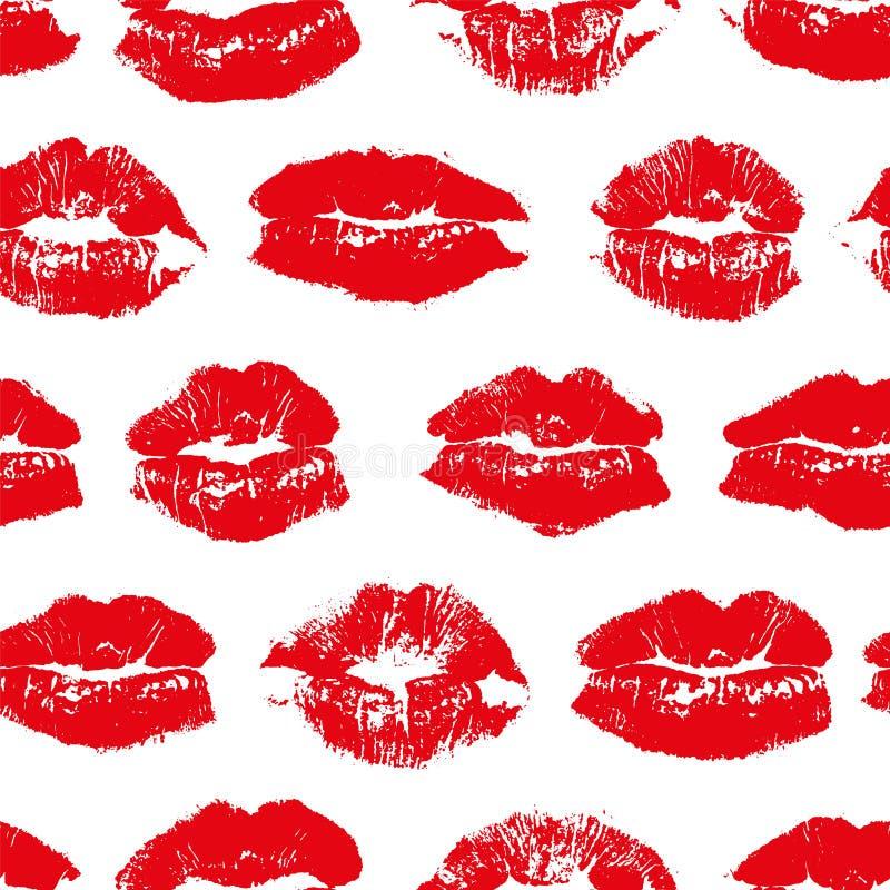 Wektorowy bezszwowy wzór z odcisku buziaka czerwieni wargami royalty ilustracja