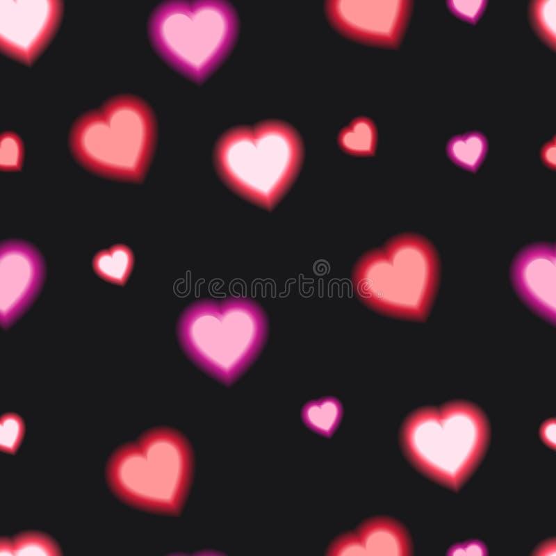 Wektorowy Bezszwowy wzór z Olśniewającym sercem, Czerwony kolor, Kolorowy tło royalty ilustracja