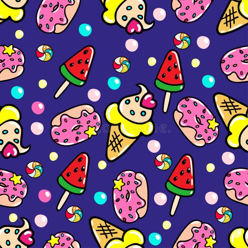 Wektorowy bezszwowy wzór z pączkami, lodami i cukierkami, ilustracji