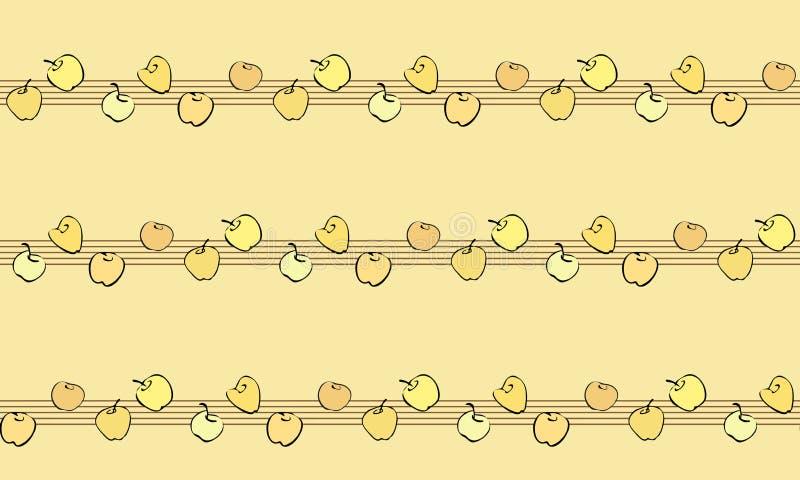 Wektorowy bezszwowy wzór z płaskimi jabłkami na musicalu personelu ilustracja wektor