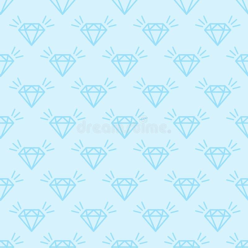 Wektorowy bezszwowy wzór z płaskimi olśniewającymi błękitnymi diamentami na błękitnym tle royalty ilustracja