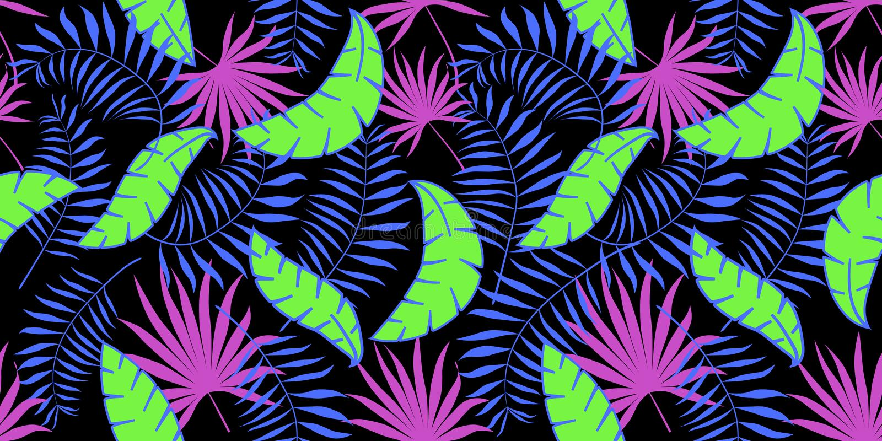 Wektorowy bezszwowy wzór z palmowymi liśćmi Czarny tło, neonowy, zielenieje, różowi, błękitny ilustracja wektor