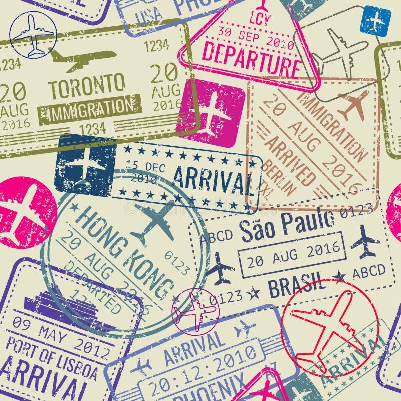 Wektorowy bezszwowy wzór z paszportowymi wiza znaczkami ilustracji