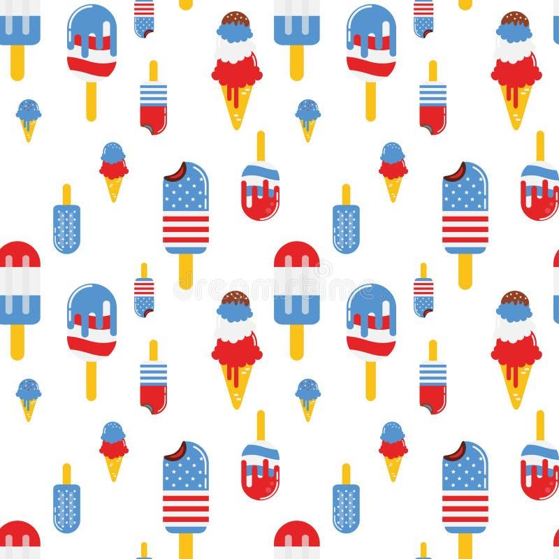Wektorowy bezszwowy wzór z patriotycznym lody Krajowi kolory Stany Zjednoczone Flaga amerykańska, gwiazdy i lampasy, ilustracja wektor