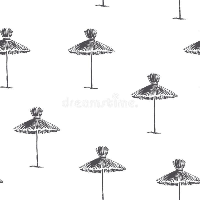 Wektorowy bezszwowy wzór z plażowymi parasolami ręka patroszony rocznik royalty ilustracja