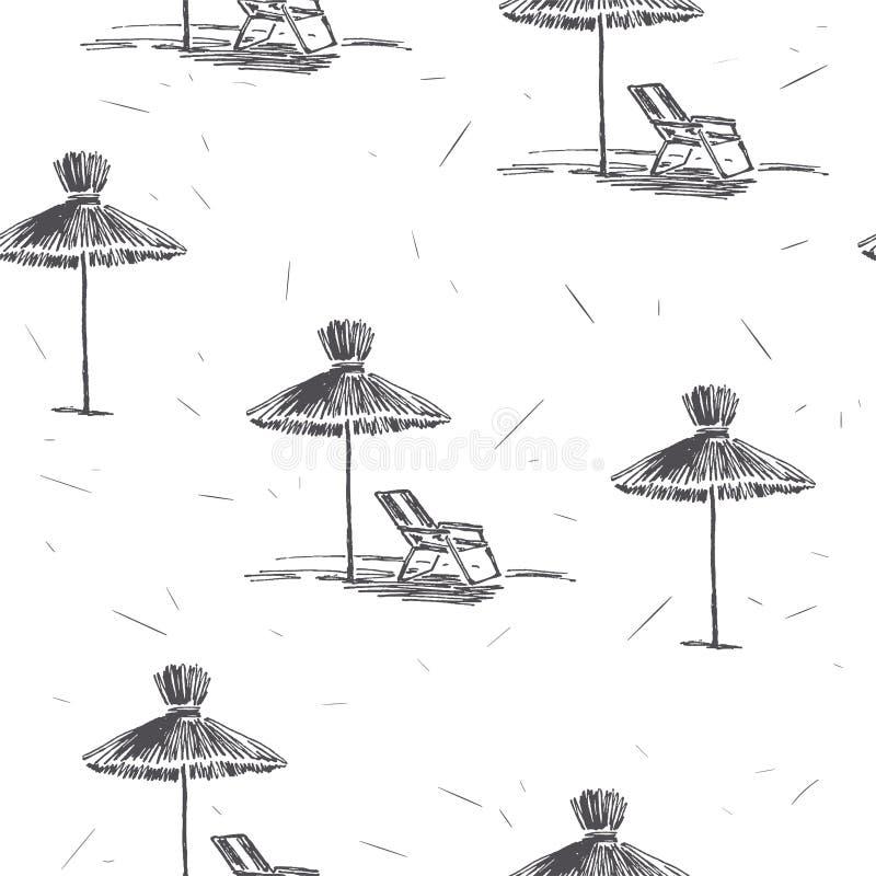 Wektorowy bezszwowy wzór z plażowymi parasolami ręka patroszony rocznik ilustracja wektor