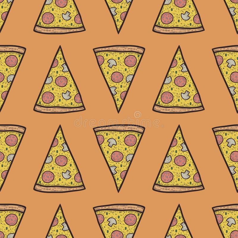 Wektorowy bezszwowy wzór z plasterkami pizza fotografia royalty free