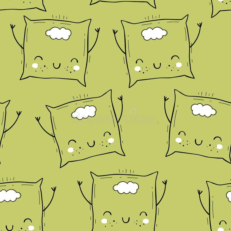 Wektorowy bezszwowy wzór z poduszką Skandynawscy motywy Dziecko druk kreskówki tła projektu tekstu ilustracji przestrzeni Emoji ilustracji